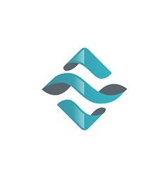 square spiral blue technology logo vector image