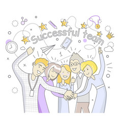 Successful team people design flat vector