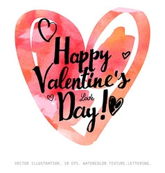 Valentines Day calligraphy hearts vector image