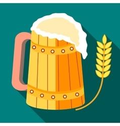 Wooden mug of beer and stalk of ripe barley icon vector