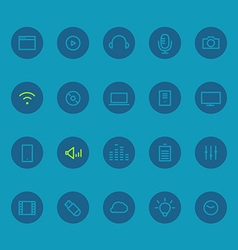 Different line style icons on circles set vector