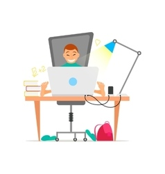 Young boy working on laptop computer concept vector