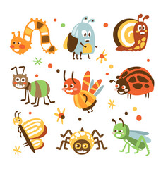 Funky bugs and insects collection of small animals vector