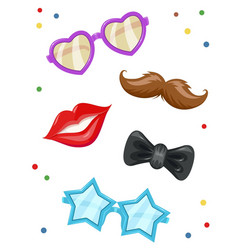 glasses moustache lip vector image