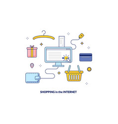 shopping in the internet banner made in line style vector image