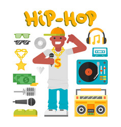 Hip hop character musician with microphone vector