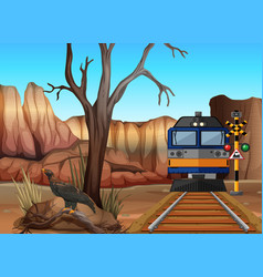 Train ride through canyons vector