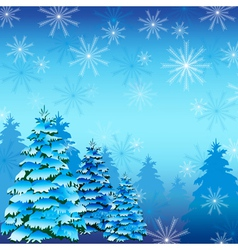 Winter background with fir tree and snowflakes vector