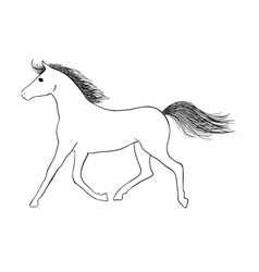 Hand drawn horse - sign of year 2014 vector image