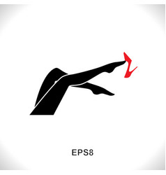 Women leg icon with red shoe vector