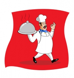 Chef serving food vector