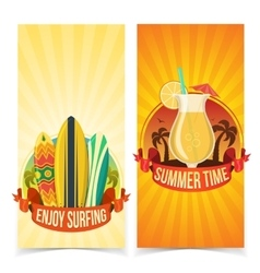 Surfing and partying banners vector