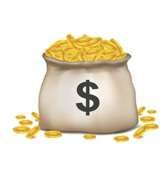 bag of dollar coins vector image