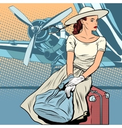 Lady traveler at the airport vector