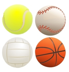 Set of sport balls tennis ball basketball vector