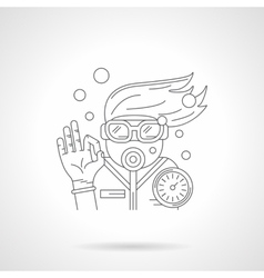 Young diver detailed line icon vector