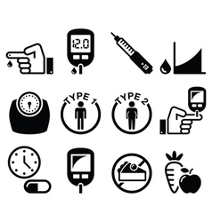 Diabetes disease health icons set vector