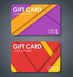 Gift cards in style of material design vector