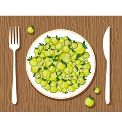 apples on a plate vector image