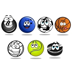 Balls and puck mascots cartoon characters vector image