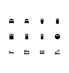Bed icons on white background vector image