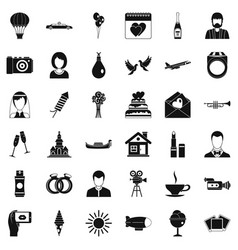 Big wedding icons set simple style vector
