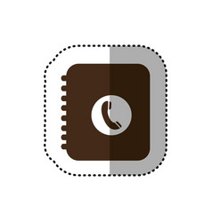 Brown notebook with phone sign icon vector