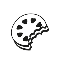 Chocolate on cookie Simple black Icon Style vector image