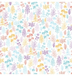 Colorful flowers and plants seamless pattern vector image