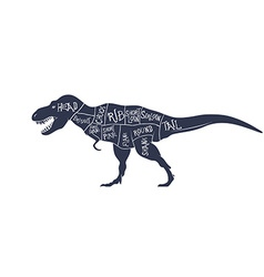 Dinosaurs with cut scheme on white background vector
