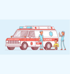 doctors near the ambulance car vector image