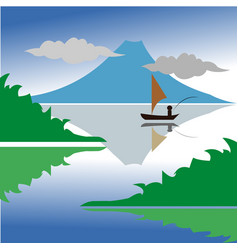 fishing in the mountain lake vector image