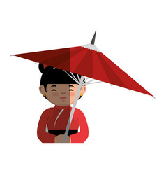 Geisha japanese girl with umbrella icon vector