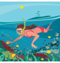 Girl snorkelling around the coral reef vector image