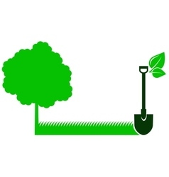 green garden background with tree and shovel vector image vector image
