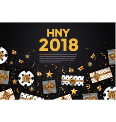 Holiday new year card - 2018 black and gold 4 vector