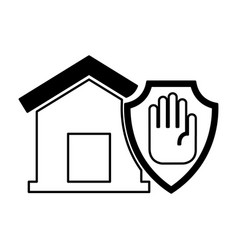 House insurance with hand stop isolated icon vector