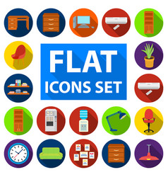 Interior of the workplace flat icons in set vector