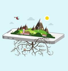 landscape on cellphone nature symbol vector image vector image