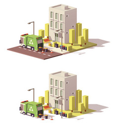 Low poly building icon vector