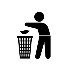 man throwing trash silhouette vector image