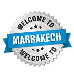 Marrakech 3d silver badge with blue ribbon vector