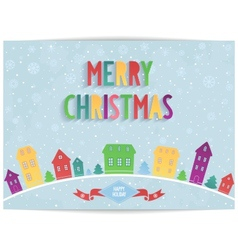 Merry Christmas card with colored lettering design vector image