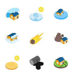 Natural disaster icons isometric 3d style vector