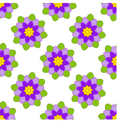 seamless pattern of purple flowers with green vector image vector image