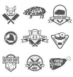 Set of butcher shop fresh pork labels vector