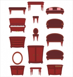 set of cartoon furniture vector image vector image