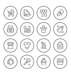 set round line icons of newborn vector image vector image