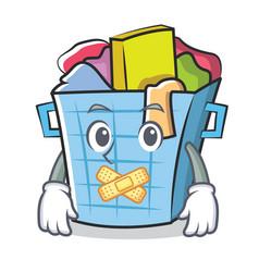 Silent laundry basket character cartoon vector