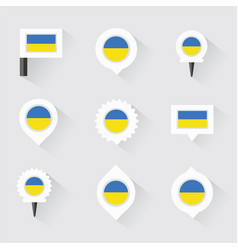 Ukraine flag and pins for infographic and map vector